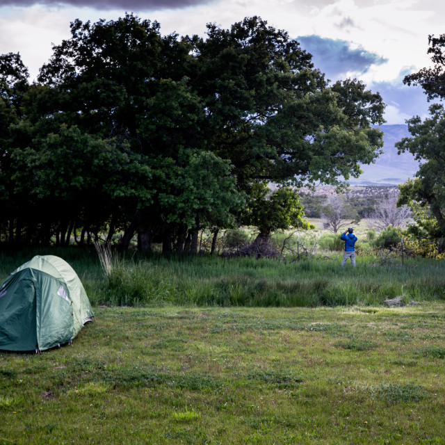 """""""A man takes a photograph with a tent on mown grass with trees in the background"""" stock image"""