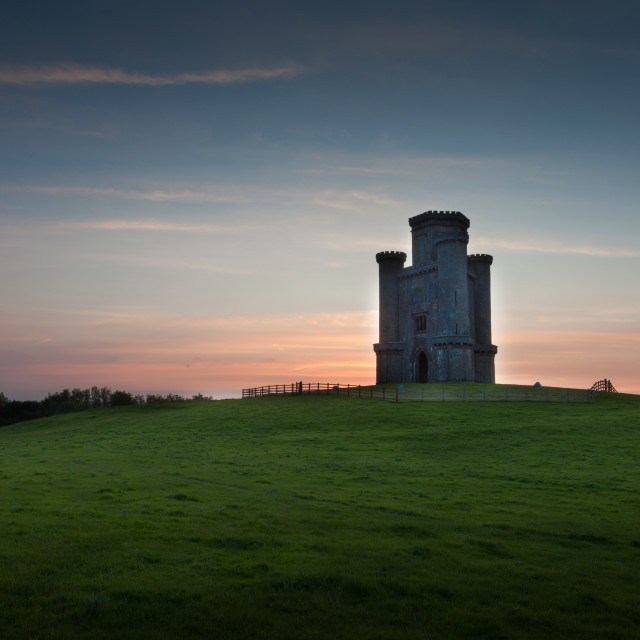 """Sunset at Paxton's Tower"" stock image"