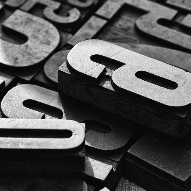 """""""Close-up view of mixed typefaces"""" stock image"""