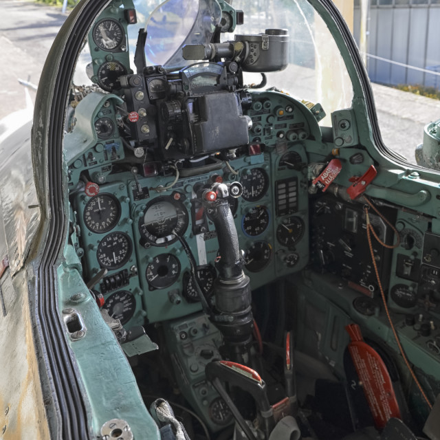 """Cockpit of Soviet military fighter"" stock image"