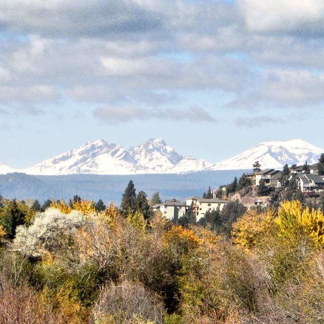 """""""Houses in Bend, Oregon with the Three Sisters mountain range in the background"""" stock image"""