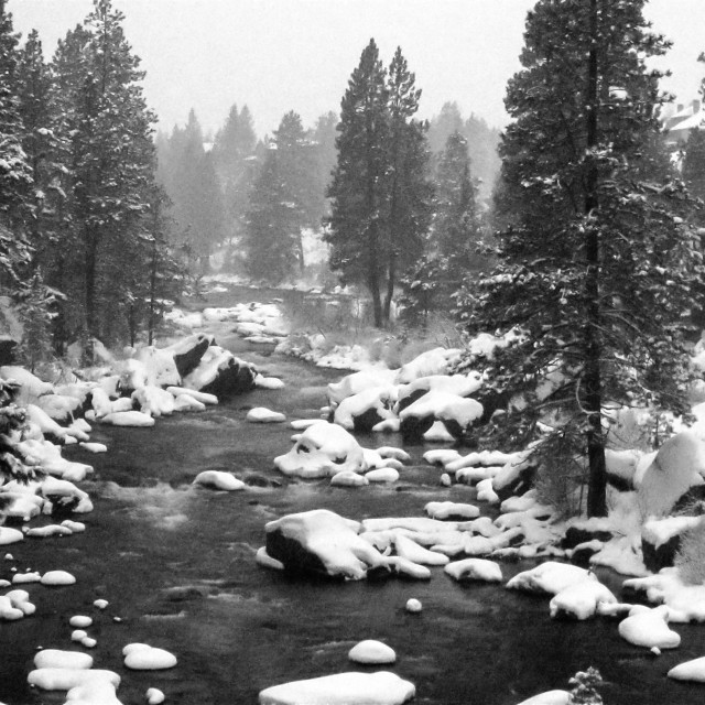 """Snow falls on the Deschutes River, Oregon"" stock image"