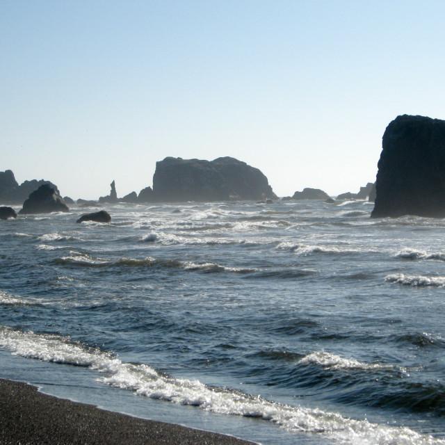 """Waves and rocks on the Oregon Coast."" stock image"