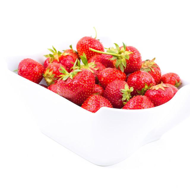 """Fresh strawberries in porcelain bowl"" stock image"