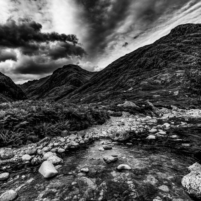 """Glen Coe from just above ""The Meeting of Three Waters"""" stock image"