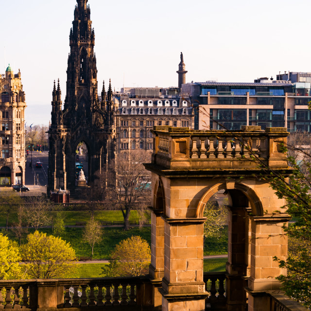 """The Scott Monument from St Giles Street"" stock image"