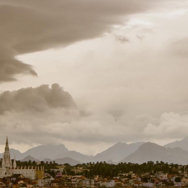 """""""A view of Kanyakumari, India, with mountains in thebackground"""" stock image"""