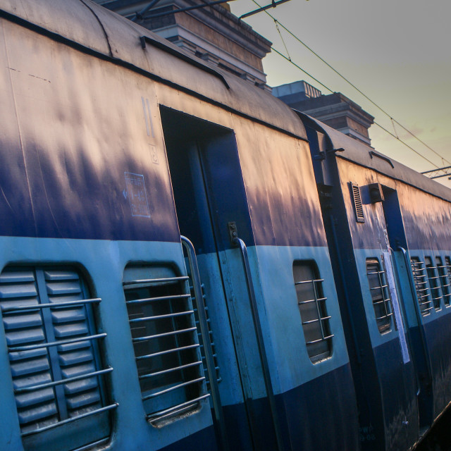 """A train in India at the station."" stock image"