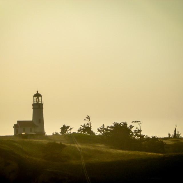"""A lighthouse on a hill on the Oregon Coast"" stock image"