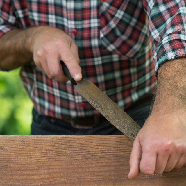"""""""Carpenter using a wood rasp on the edge of a board"""" stock image"""