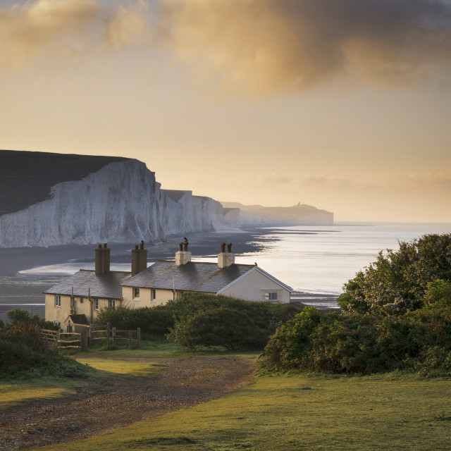 """Coastguard Cottages, Seven Sisters, East Sussex"" stock image"