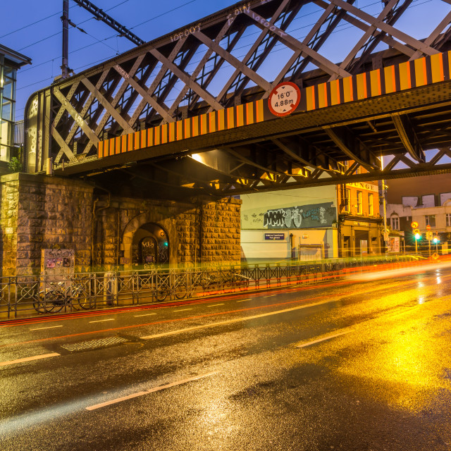 """Train Bridge at Tara St. station in Dublin, Ireland"" stock image"