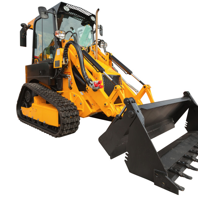 """Backhoe loader or bulldozer - excavator with clipping path isola"" stock image"