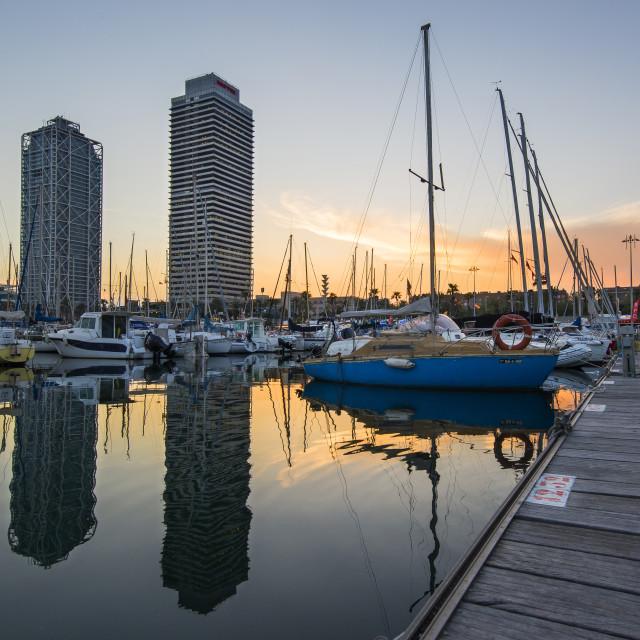 """Seaport at sunset, Barcelona."" stock image"