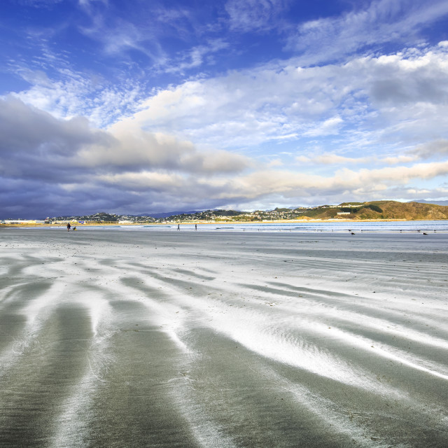 """Sand Streaked Beach of Lyall Bay, Wellington, New Zealand"" stock image"