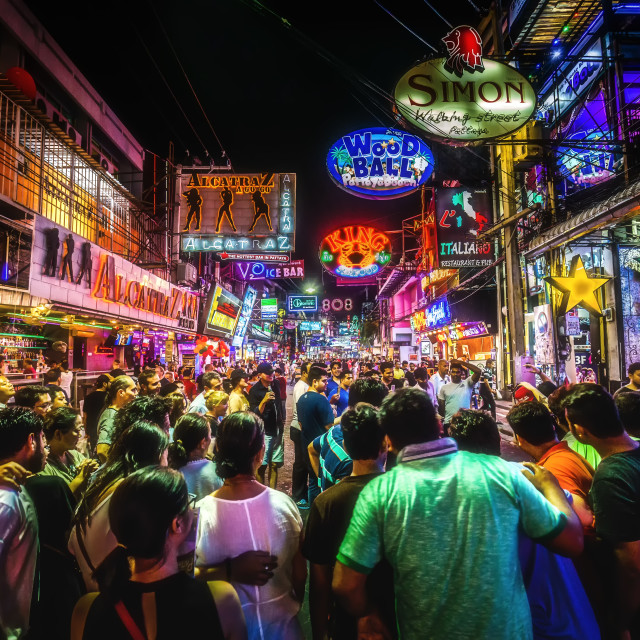 """Night life at walking street"" stock image"
