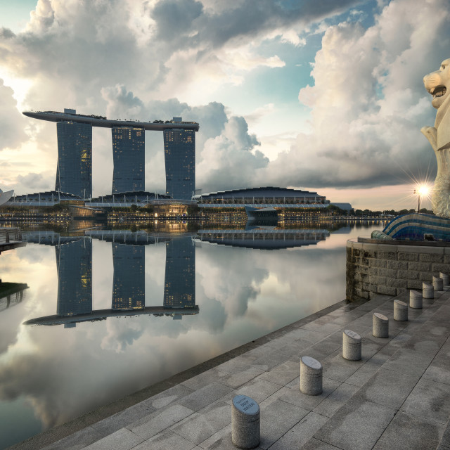 """Morning at Merlion park"" stock image"