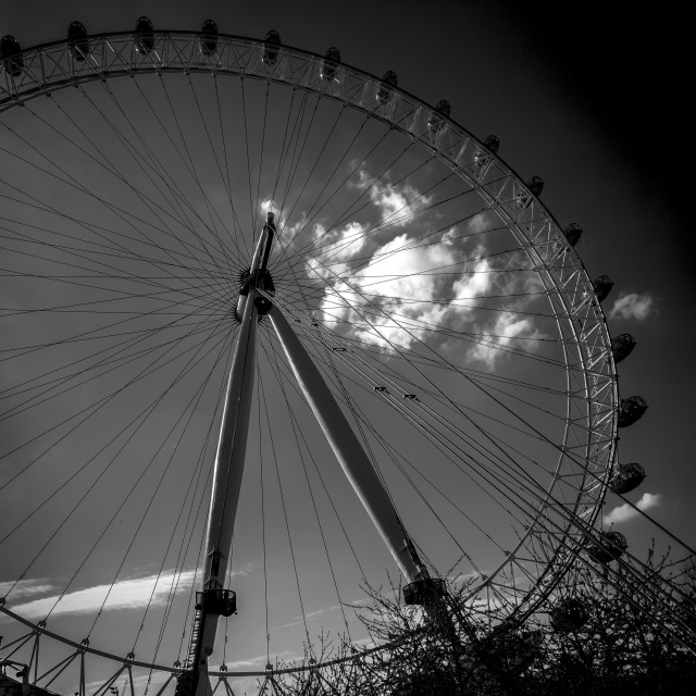 """London Eye - in Black and White"" stock image"
