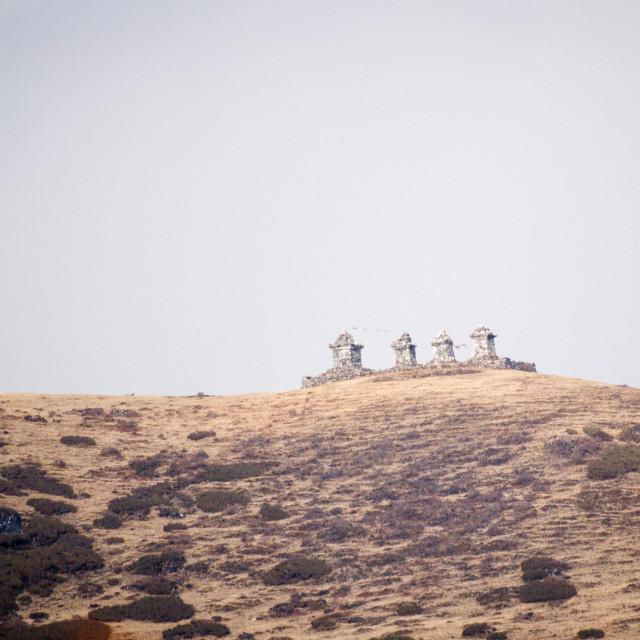 """4 Stupas on a HImalayan hiltopp"" stock image"