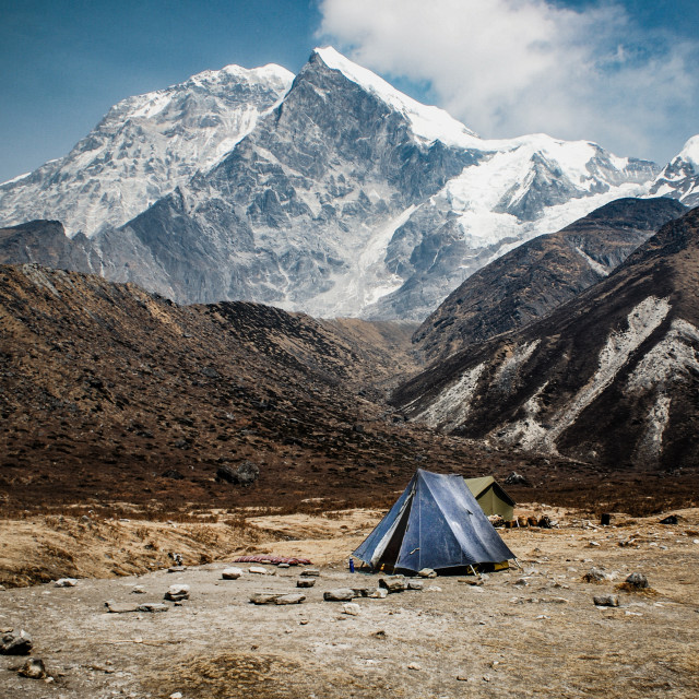 """""""camp below the mountains"""" stock image"""
