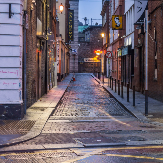 """Aston Place, Dublin at night."" stock image"