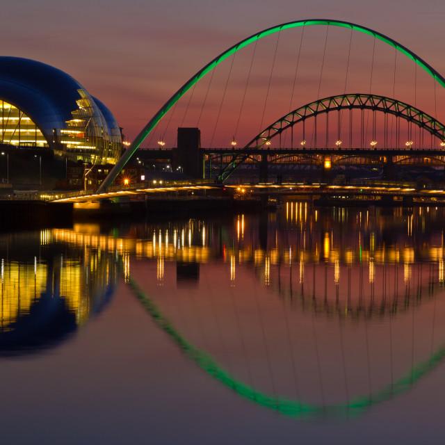 """Tyne bridges at sunset"" stock image"