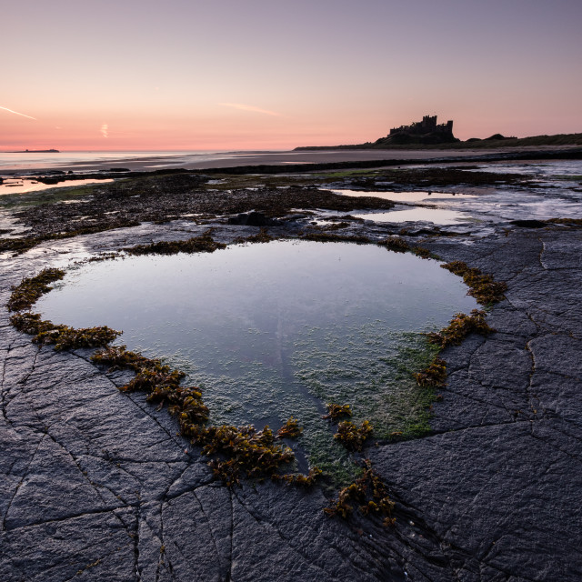 """Sunrise at Bamburgh"" stock image"