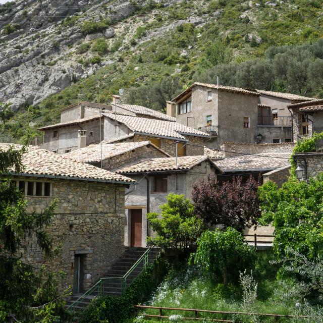 """Sopeira, a tiny, charming Spanish Pyrenees village"" stock image"