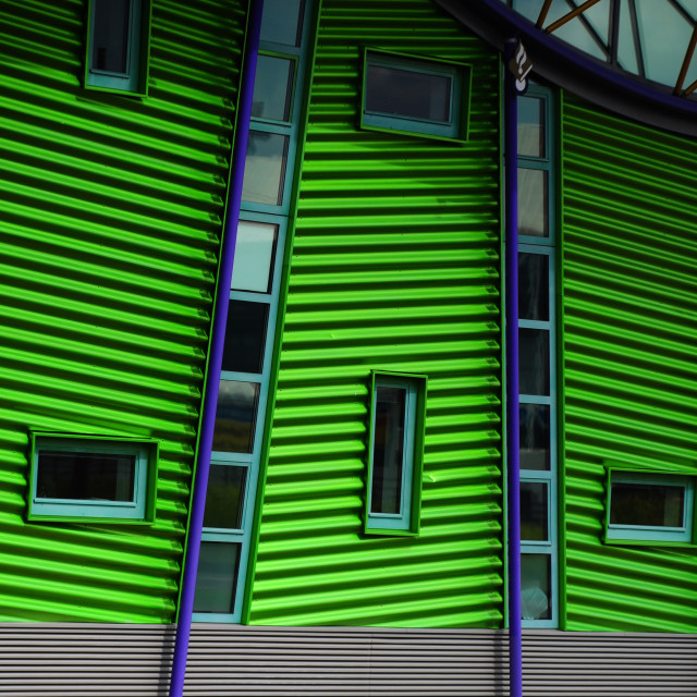 """""""Rotterdam architecture green building wall with windows"""" stock image"""