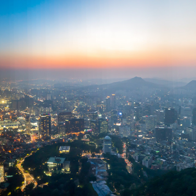 """""""Time slice of day to night at Seoul city"""" stock image"""
