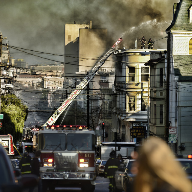 """San Francisco firefighters at work"" stock image"