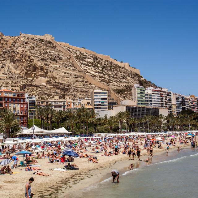 """""""El Postiguet Beach, Alicante, Spain"""" stock image"""