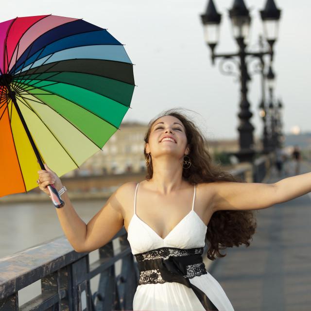 """""""happy woman with umbrella"""" stock image"""