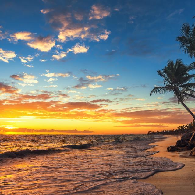 """""""Punta Cana sunrise , Landscape of paradise tropical beach"""" stock image"""