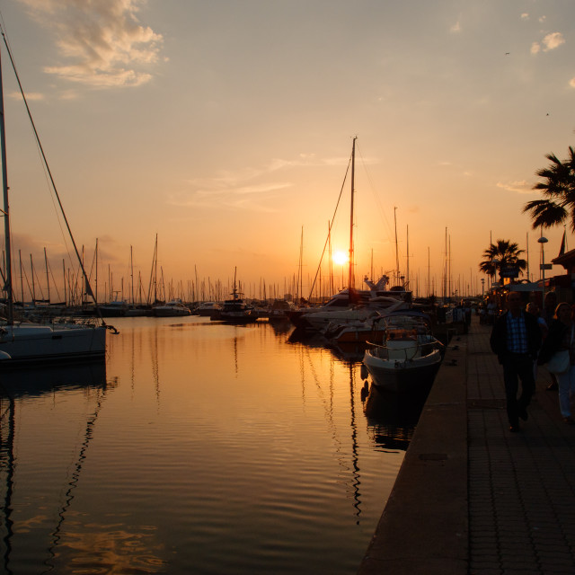 """Yacht Harbor Sunset"" stock image"
