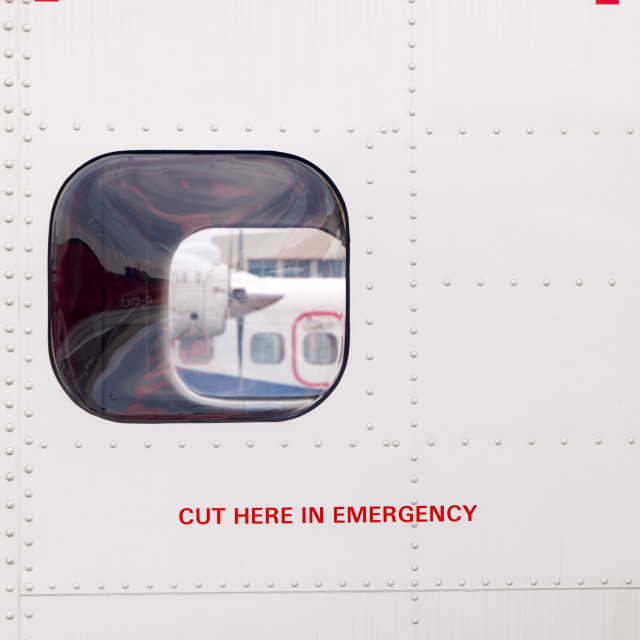 """""""Cut Here in Emergency"""" stock image"""