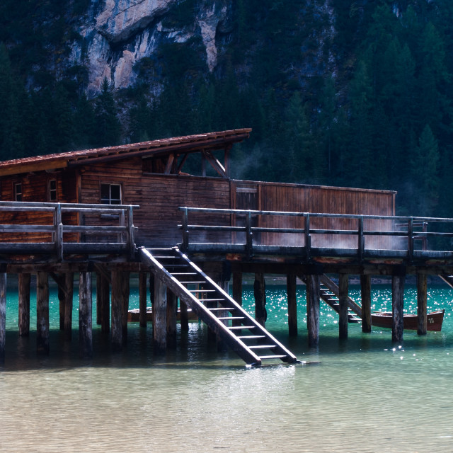 """Boathouse in the Pragser Wildsee"" stock image"