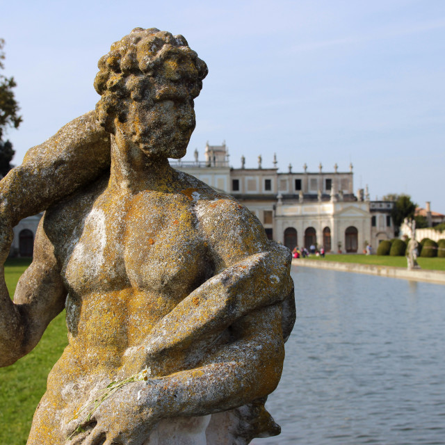"""Statue of warrior in the garden of Villa Pisani"" stock image"