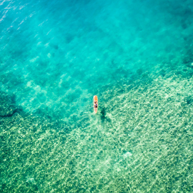 """Aerial view of a paddle boarder"" stock image"