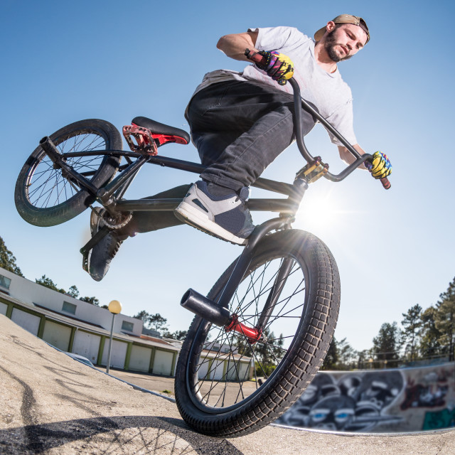 """BMX Bike Stunt"" stock image"