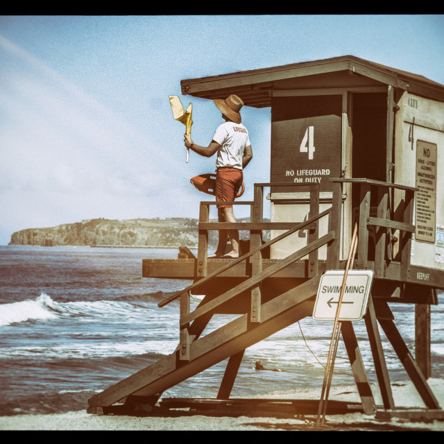 """Lifeguard on a tower"" stock image"