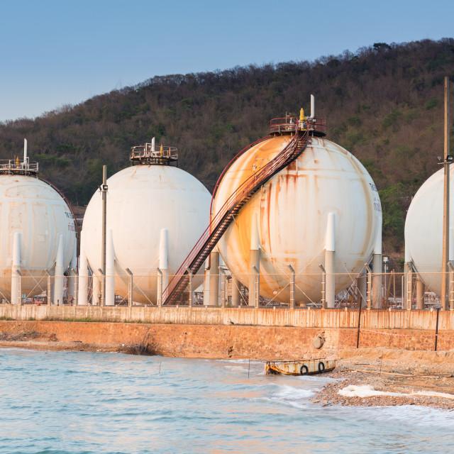 """Oil refinery tanks petroleum"" stock image"