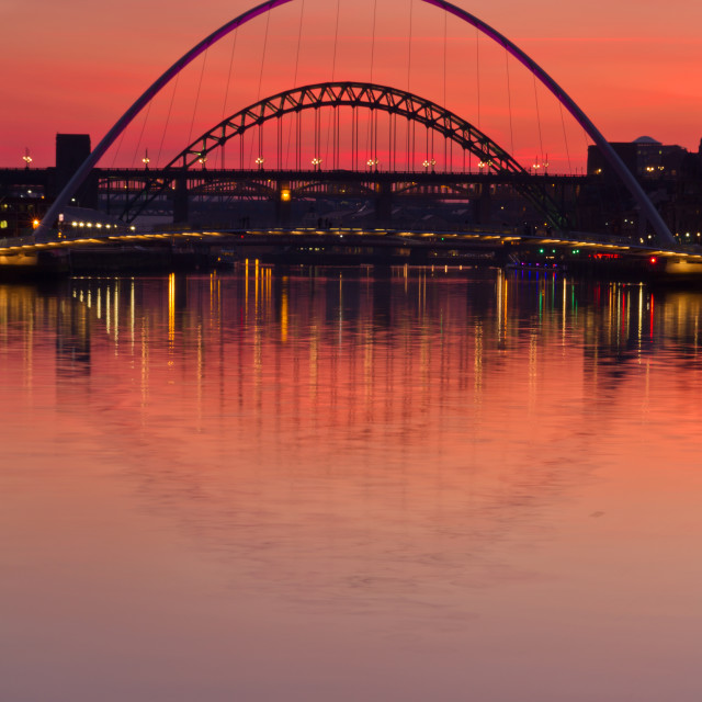 """Newcastle Bridges at dusk"" stock image"