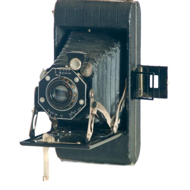 """Early 20th century folding camera"" stock image"