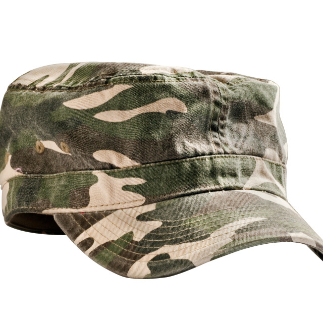 """Camouflage military cap facing left"" stock image"