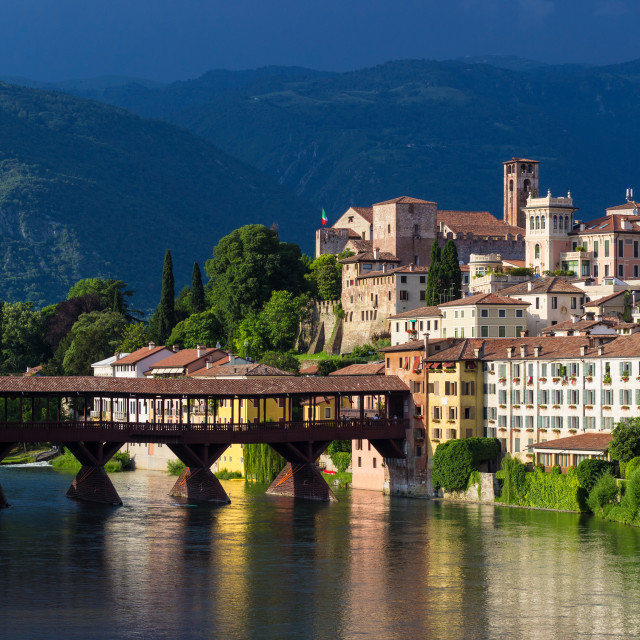 """Panoramic view of the town of Bassano del Grappa and its famous bridge"" stock image"