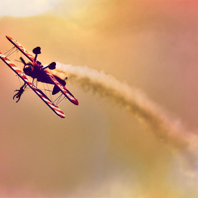 """""""Wing walker barrel roll"""" stock image"""