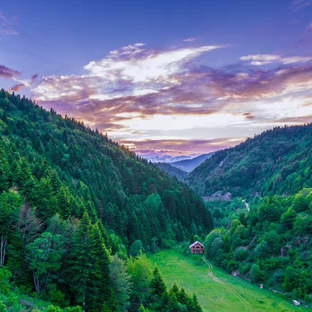 """Mountains at dusk"" stock image"