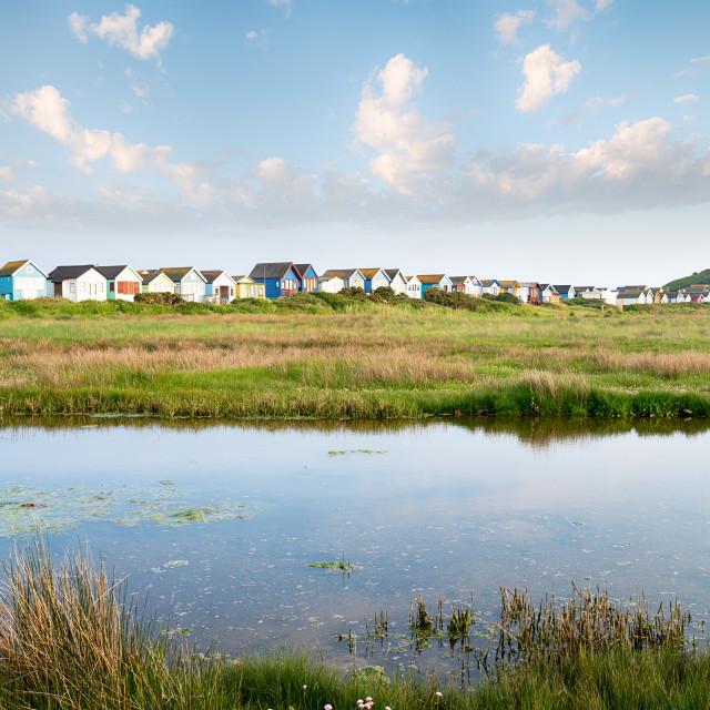 """""""Mudeford Beach Huts"""" stock image"""