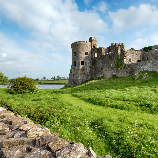 """Carew Castle in Pembrokeshire"" stock image"
